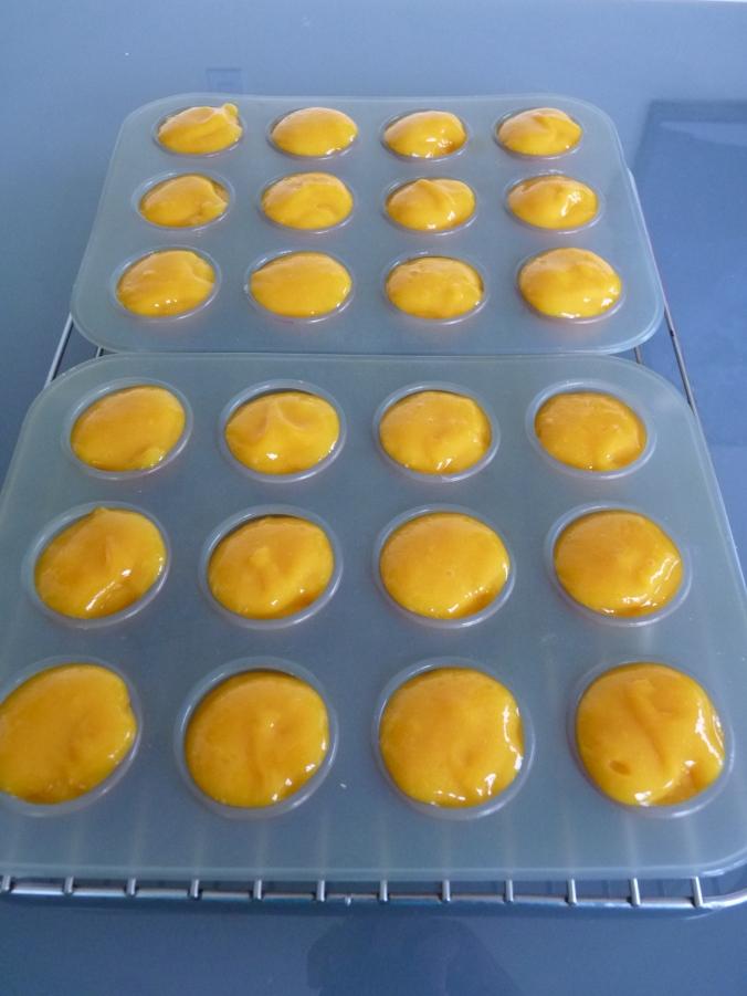 da ist es schon in meinen kleinen Muffinförmchen, fertig zum Einfrieren