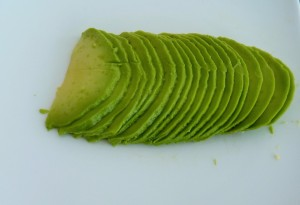 avocado cut in thin slices